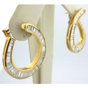 18k Yellow Gold 5.54Ct Baguette Diamond Swirl Earrings