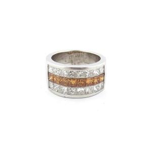 18k White Gold 2.70Ct Princess Cut Champagne and White Diamond Anniversary Ring