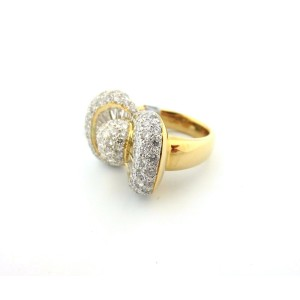 18k White and Yellow Gold 3.70Ct Round Cut Diamond Bow Ring