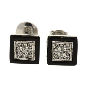 14K White Gold Onyx Pave Diamond Top Stud Earrings