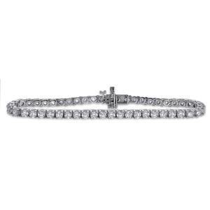 14K White Gold 5.00ct. Diamond Four Prong Tennis Bracelet