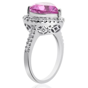 14K White Gold 5.20 Ct Heart Shaped Pink Quartz and 0.42 Ct Round Cut Diamond Cocktail Ring Size 7.25