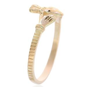 14K Yellow Gold Irish Claddagh Ring Size 9