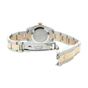Rolex Datejust 179161 Oyster Steel/Rose GoldPink Stick Dial Smooth Bezel Womens 26mm Watch