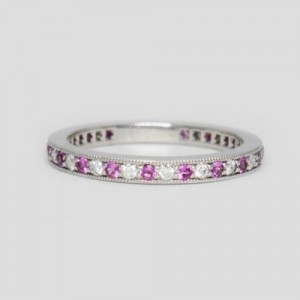Tiffany & Co. Legacy Platinum Pink 0.26 Ct Sapphire and 0.20 Ct Diamond Band Ring Size 6.5
