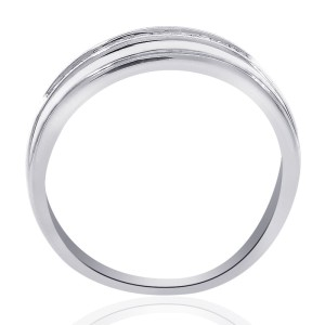 14K White Gold & 0.25ct. Diamond Wedding Band Ring Size 6.0