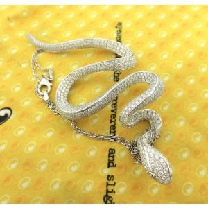 18K White Gold 9.76 Ct Diamond Snake Cluster Pendant Necklace