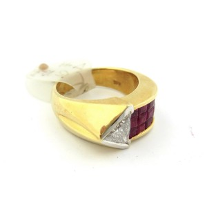 18K Yellow and White Gold Triangle Trillion Diamond & Rubies Arrow Pointy Band Ring Size 6.5