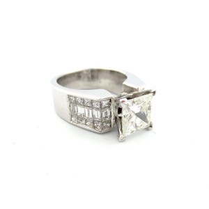 18K White Gold 4.17 Ct Princess & Baguette Diamond Engagement Ring Size 6.5