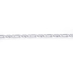 14K White Gold Tiger Eye Link Chain Ankle Bracelet
