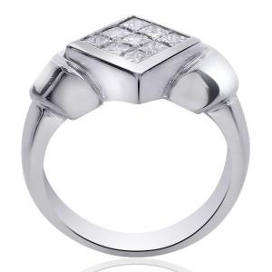 14K White Gold 0.90ct Diamond Rhombus Ring Size 7.0