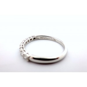Tiffany & Co. 950 Platinum with 0.27ctw Diamond Eternity Wedding Band Ring Size 5