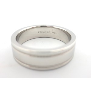 Tiffany & Co. 950 Platinum Flat Double Milgrain Wedding Band Ring Size 8.75