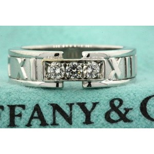 Tiffany & Co. Atlas 18K White Gold and 925 Sterling Silver with 0.16ct Diamond Wedding Band Ring Size 5.5
