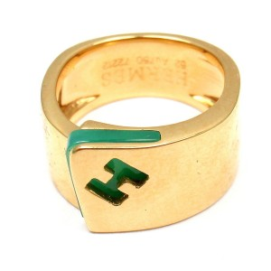Hermes 18k Yellow Gold Chalcedony Ring Size 6