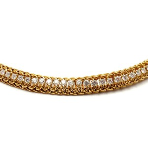 Hammerman Brothers 18K Yellow Gold with 4ctw Diamond Vintage Weave Necklace