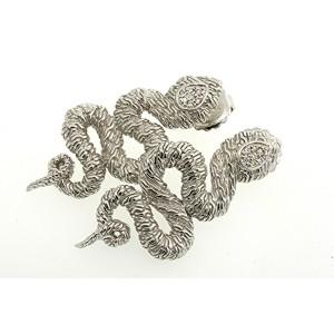 John Hardy Large Snake Diamond Sterling Silver Earrings Rare