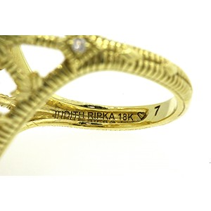 Judith Ripka 18K Yellow Gold Rock Crystal Diamond Ring Size 7