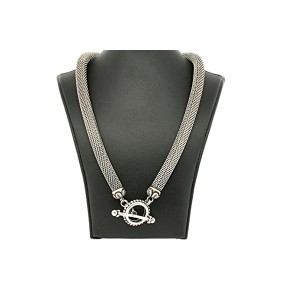 "Stephen Dweck Mesh Chain Choker Necklace Toggle Clasp Sterling Silver 19"" Round"