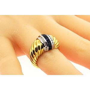 David Yurman Cable 18K Yellow Gold Sapphire, Diamond Ring Size 6