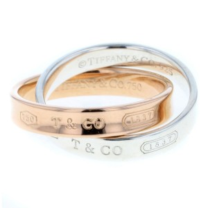 Tiffany & Co. 1837 18K Rose Gold and 925 Sterling Silver Interlocking Ring Size 5