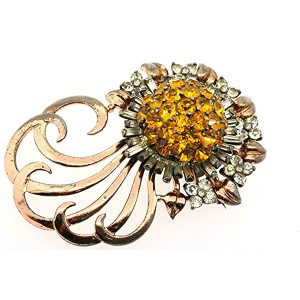 Pennino Sterling Silver Large Flower Pin Yellow Clear Rhinestone