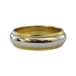 Tiffany & Co. Milgrain Wedding Band 18K Yellow Gold Platinum Size 8.5