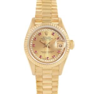 Rolex President Yellow Gold String Diamond Rubies Ladies Watch 69158