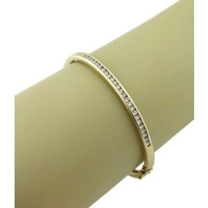 1.30ct Diamond 14k Yellow Gold 4.2mm Hinged Bangle Bracelet LIQUIDATION!!