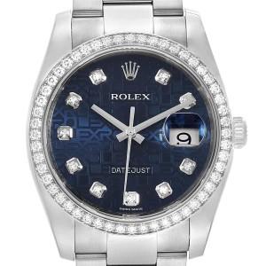 Rolex Datejust 36 Blue Diamond Dial Bezel Unisex Watch 116244 Box Card