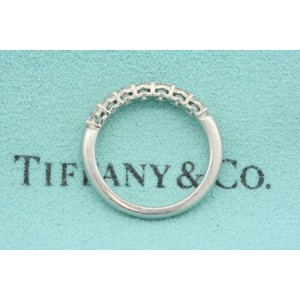 Tiffany & Co. Embrace .57ct Platinum Diamond Wedding Band Ring 7 Stone sz 5.5, 6