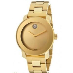 MOVADO BOLD 3600104 YELLOW GOLD CRYSTAL DOT LADIES SWISS QUARTZ WATCH