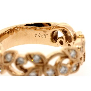 Neil Lane Floral Rose Diamond Band Ring 14k Rose Gold size 6.75