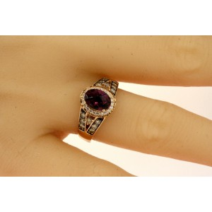Levian Rhodolite Garnet Chocolate Diamond Ring 6x8mm Oval 14k Rose Gold sz 7.5