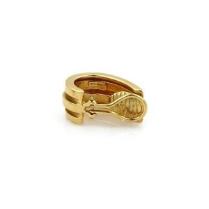 Tiffany & Co. ATLAS 18k Yellow Gold Double Groove Wide Oval Semi Hoop Earrings