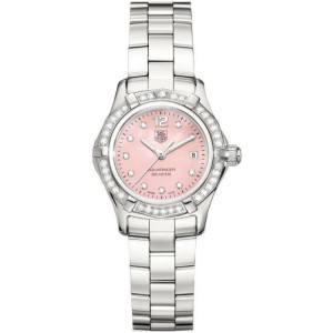 AUTHENTIC TAG HEUER AQUARACER WAF141B.BA0813 DIAMOND PEARL PINK LADIES WATCH