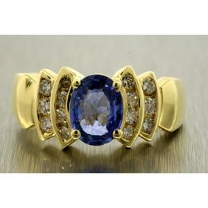 Levian Blue Sapphire Diamond Ring 18k Yellow Gold Oval Band sz 6.75