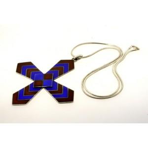 HUGE Gucci Italy Enamel Cross Pendant Enamel Blue Brown 925 Vintage Snake Chain