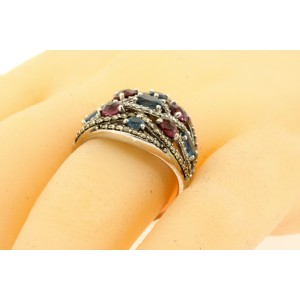 Levian Garnet Topaz Ring Chocolate White Diamonds 14k White Gold 7