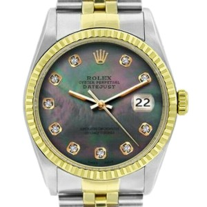 Rolex Datejust 16233 Unisex Black MOP Diamond Yellow Gold 36mm 1 Year Warranty