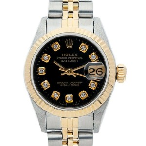 Rolex Datejust 26mm 6917 Women's Black Diamond Yellow Gold 26mm 1 Year Warranty