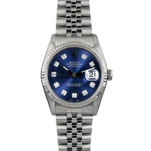 Rolex Datejust 36mm 16014 Unisex Blue Diamond White Gold 36mm 1 Year Warranty