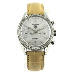 TAG HEUER CARRERA CV2116.FC6185 AUTO CHRONOGRAPH CLASSIC DIAMOND PEARL WATCH
