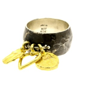 Denise Roberge Ring 22k Gold Sterling Silver 3 Dangle Charms size 11.5 Wide