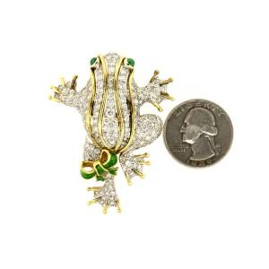 "Frog Pin Brooch 18k Gold 4ct H VS Diamonds Emeralds Large 2""x1.5"" 27.2g"