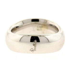 Pomellato Curved 18k Band Ring Wedding White Gold size 6.25 7.5mm Wide 14.5g