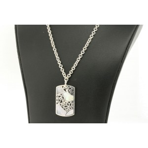 Lois Hill Mother of Pearl Inlay Dog Tag Necklace Pendant Chain Sterling Silver
