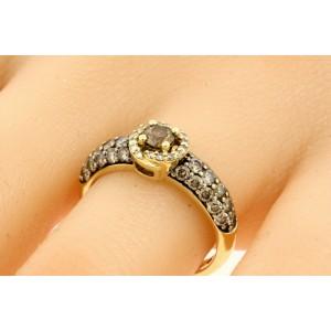 Levian Engagement Ring 14k Yellow Gold 1ct Chocolate Diamond Vanilla sz 7