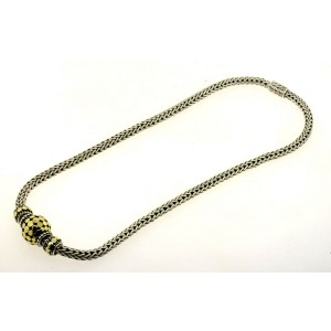 """John  Hardy Ball Bead Dot trio Necklace Sterling Silver 18k Gold Wheat Chain 16"""""""