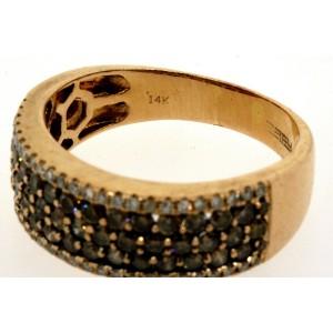 Effy 14k Rose Gold Brown White 1.33ctw Diamond Ring Band size 8.5